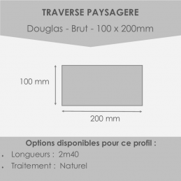 traverse_paysagère en douglas - traverse moins cher ! 100x200mm en 2m40 - bois non traité