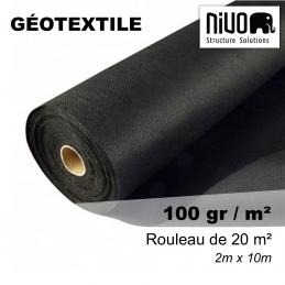 rouleau de géotextile opaque pour terrasse sur terre battue - densité de 100gr/m² - couleur noir - évite la repousse de l'herbe