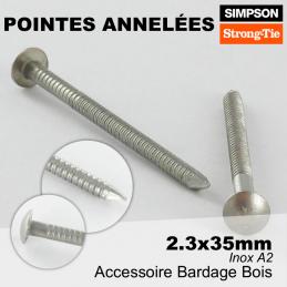 pointe pour bardage bois - résistante à l'oxydation et à la corrosion - 2.3x35mm