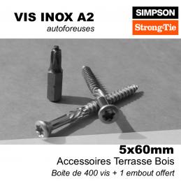 boite de 400 vis inox pour terrasse bois - 5 x 60 mm - vis pour lames d'une épaisseur comprise en 22 et 28 mm