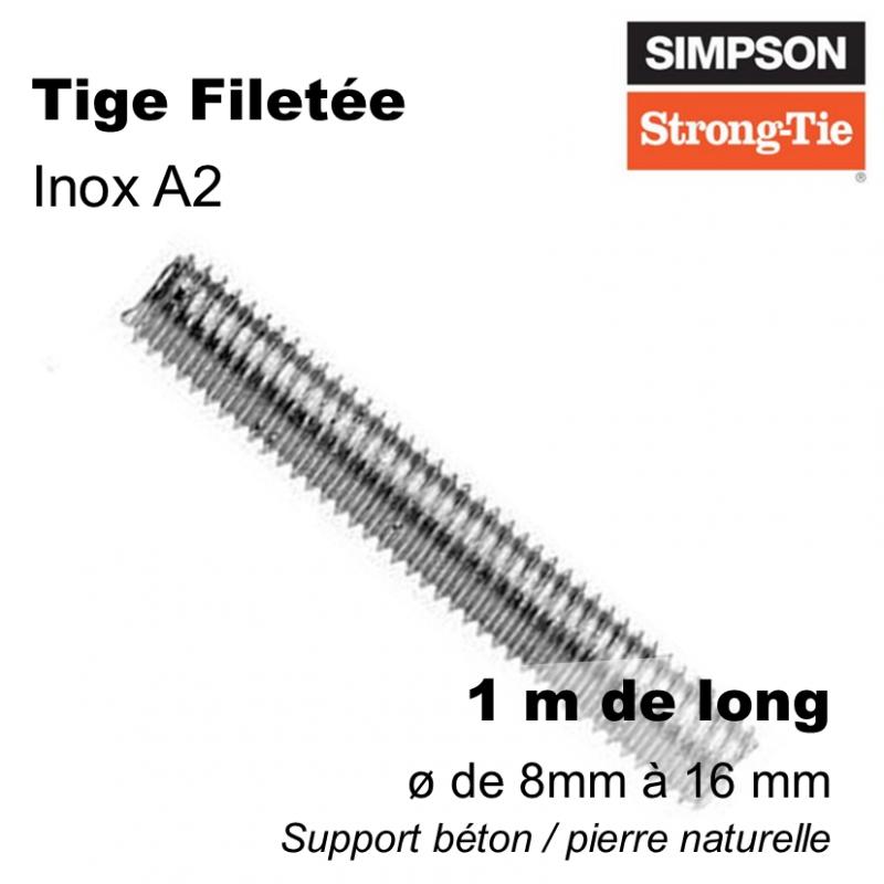 tige filetée fixation sur dalle béton ou sur pierre naturelle - inox A2 pour l'extérieur