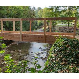 chevron clôture , pont , palissade douglas massif - aménagement extérieur bois
