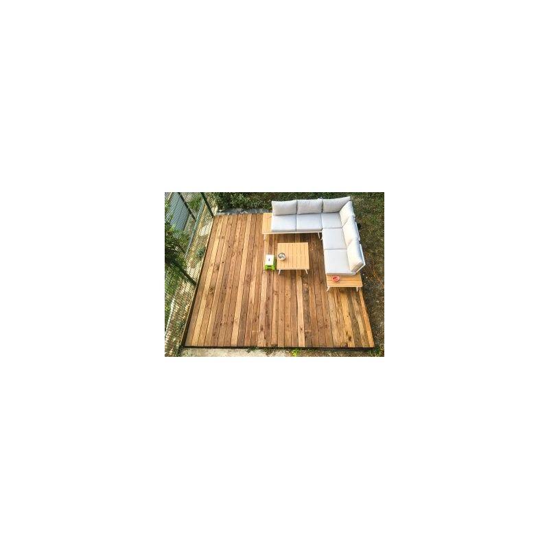 terrasse réalisé avec lame de terrasse morvan en douglas - 28x145 - bois déclassé