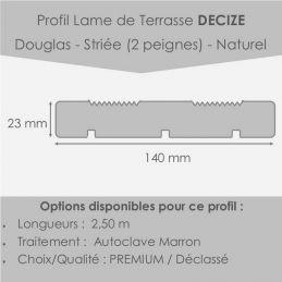 Lame Terrasse Decize 23x140 En 2m50 Douglas Striée 2peignes Déclassé