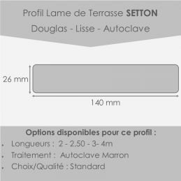 profil lame terrasse lisse 26x140 en 2,50m Douglas Lisse Traitée