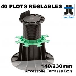 lot de 40 plots JOUPLAST réglables pour terrasse bois - PVC - réglable de 14 cm à 23cm