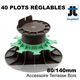 sac de 40 plots jouplast réglables en PVC - hauteur de 8 cm à 14 cm - Pour terrasse bois