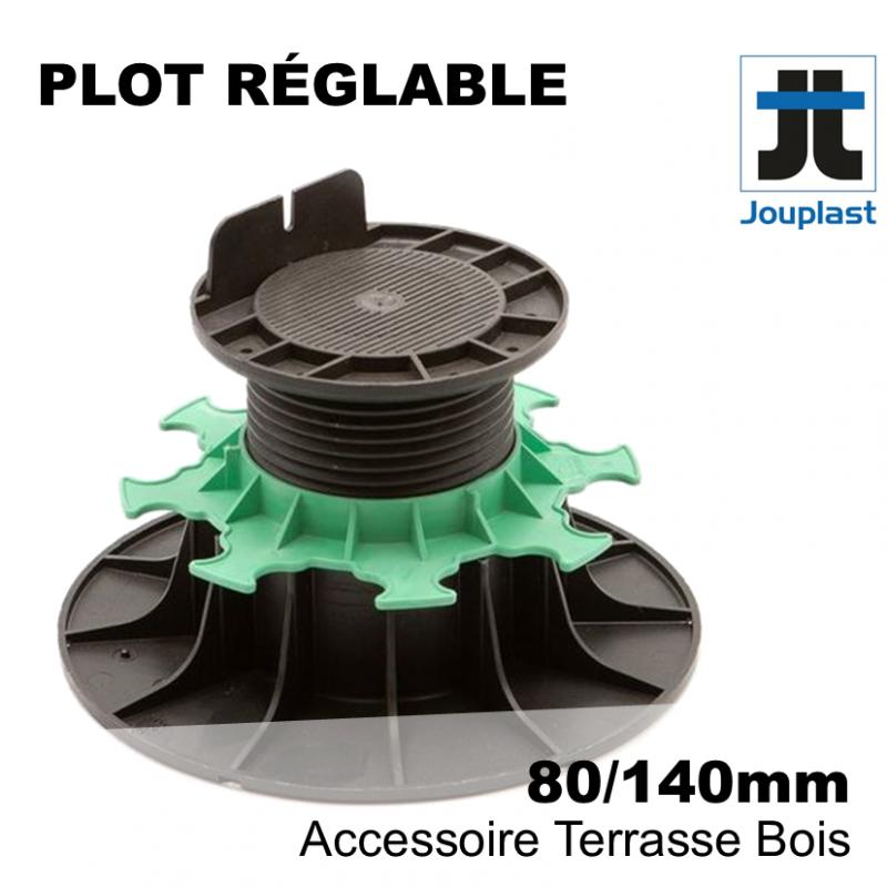 plot réglable pour terrasse bois - hauteur comprise entre 8 cm et 14 cm - Plot PVC Jouplast
